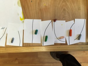 One of our youngest placed one crayon on each cutting card